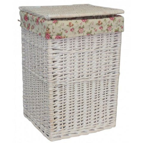 New England White Washed Square Wicker Laundry Bin Basket Vintage Rose Medium H 50 x W 33cm